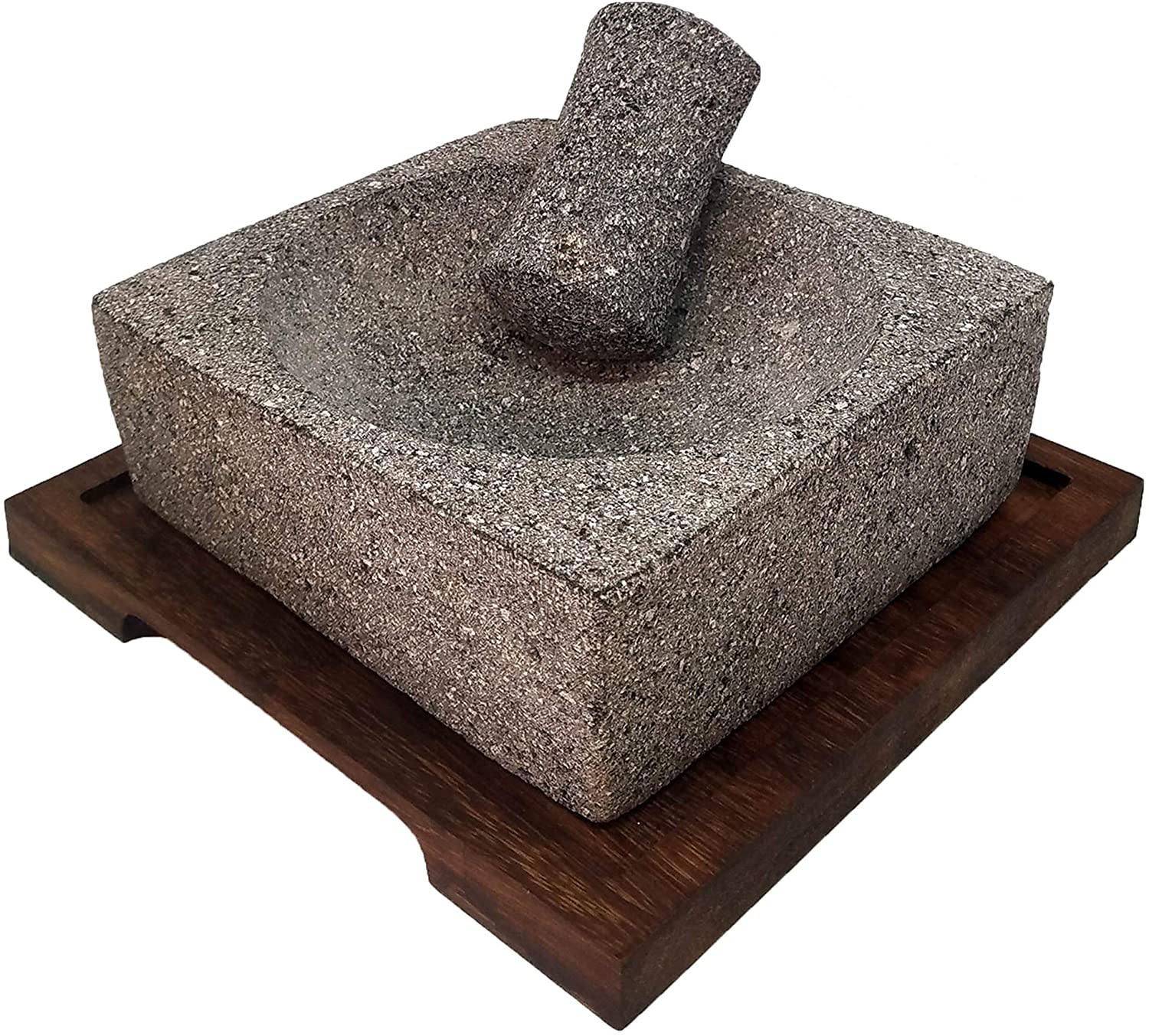 VOLCANIC ROCK PRODUCTS / 8'' Square Mortar and Pestle Set with Parota Wood Serving Board