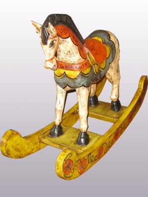 CARVED HORSES / Carved horse rocking style 24 inch tall handpainted