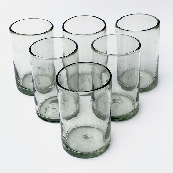 MEXICAN GLASSWARE / Clear drinking glasses (set of 6)