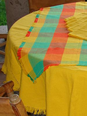 MEXICAN TEXTILES / Cotton Tablecloth with napkins Round and Square Combination 1
