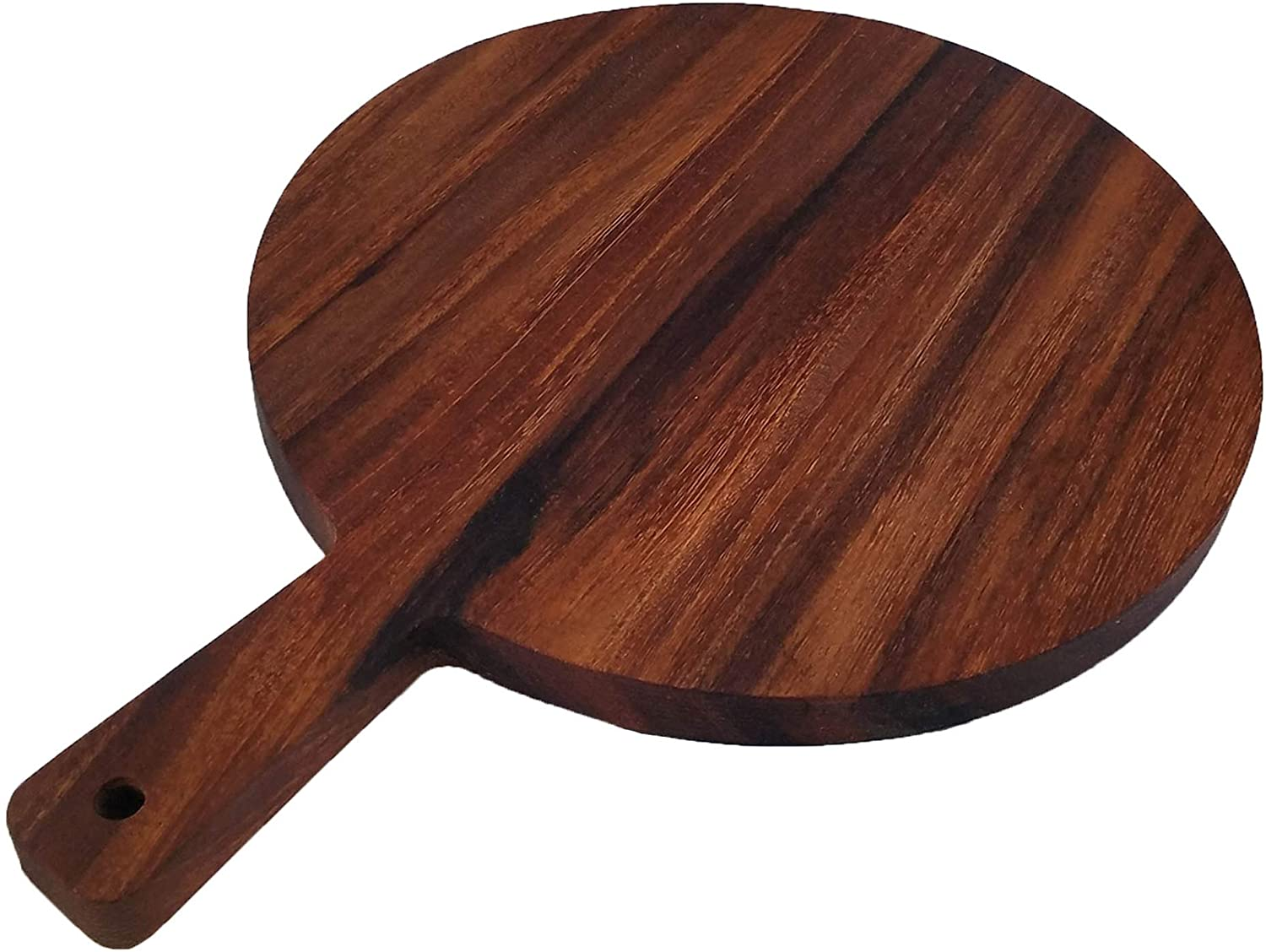 PAROTA WOOD PRODUCTS / Round Parota Wood Serving/Cutting Board with Handle