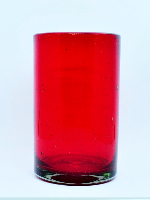MEXICAN GLASSWARE / Solid Ruby Red drinking glasses (set of 6)